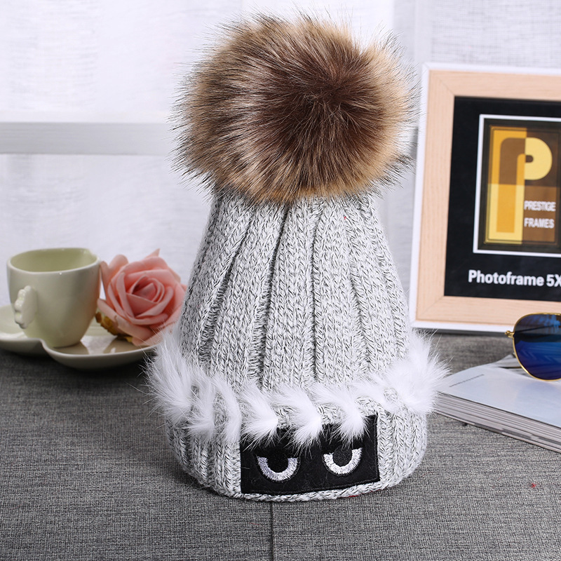 e4827ea0624 Knitted Hat Mink And Fox Fur Ball Cap Pom Poms Winter Hat For Women ...