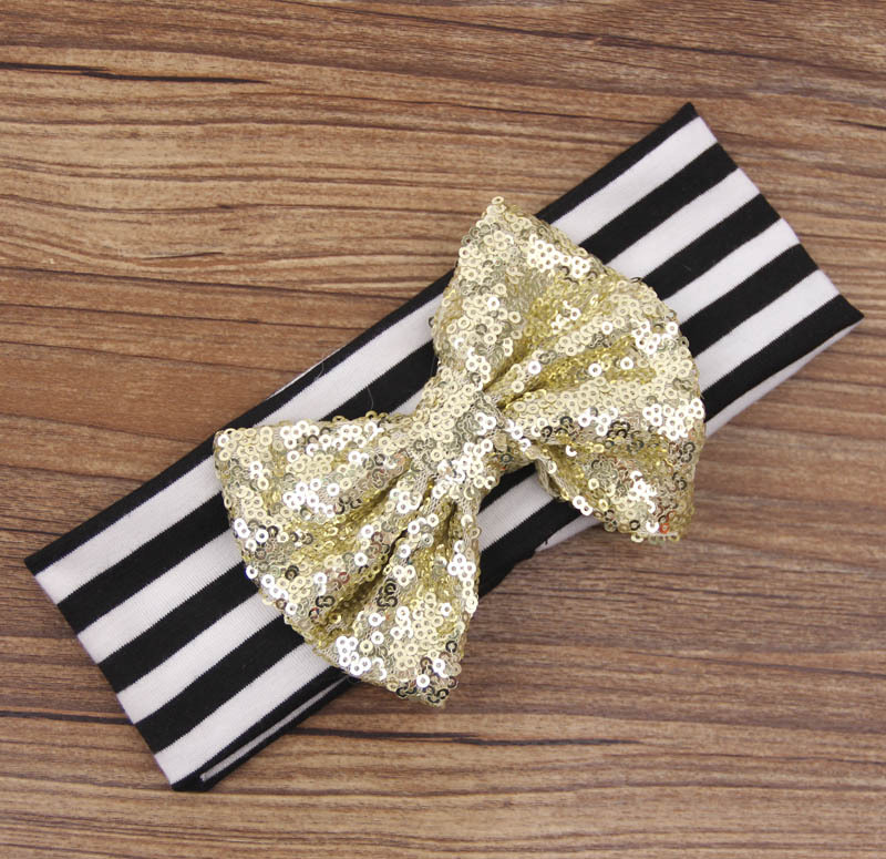 Children39s hair band new sequins bow hair band hair accessories Christmas new baby gifts NHDM208988