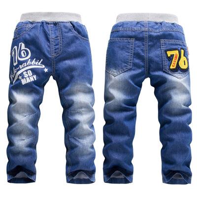 法国KK兔品牌童装 儿童加绒单层牛仔裤 外贸童裤SL1520/SL1541