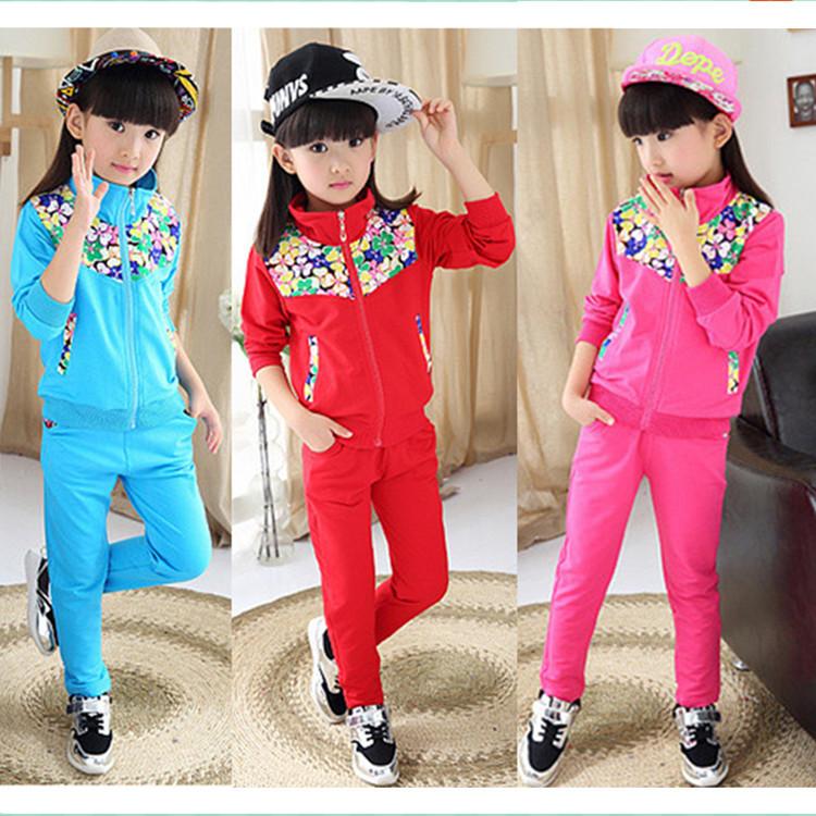 童装 秋款童套装 中大童女童运动套装 花朵拼接两件套 厂家批发