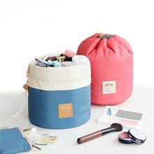 旅行便携大容量圆桶日本化妆包旅游加厚棉洗漱包防水收纳包整理包