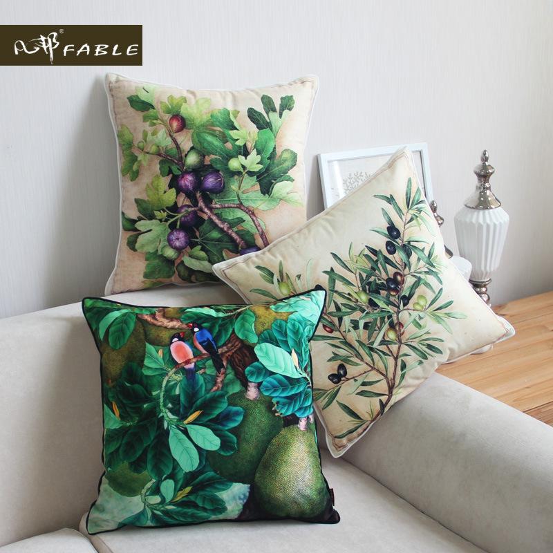 【FABLE/凡邦】欧式植物彩绘写真抱枕沙发靠垫汽车腰枕高档靠枕