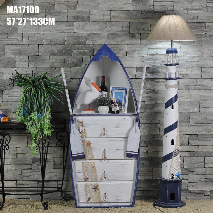 邁瑞恩地中海風格船形儲物柜 四抽 創意家居擺件收納船柜MA17100