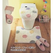 日单粉色长毛田园精品马桶垫 千趣会马桶圈三件套 U形马桶坐垫