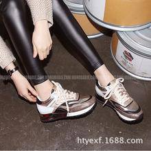 韩国代购2015新品秋季拼色运动鞋 帆布鞋内增高休闲女单鞋跑步鞋