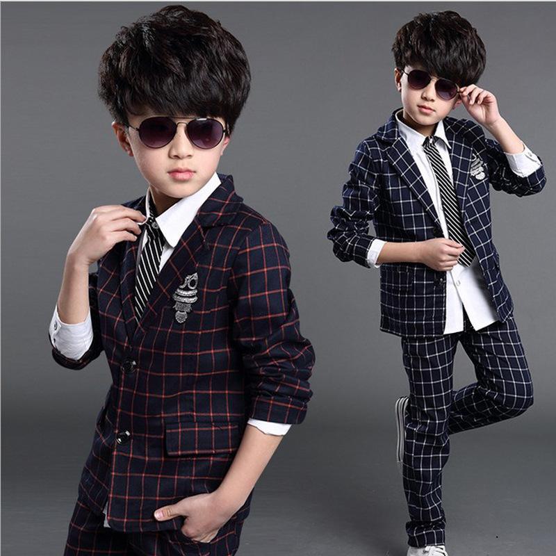 秋童装英伦新款男童西装套装中大童格子外套+长裤儿童套装潮代销