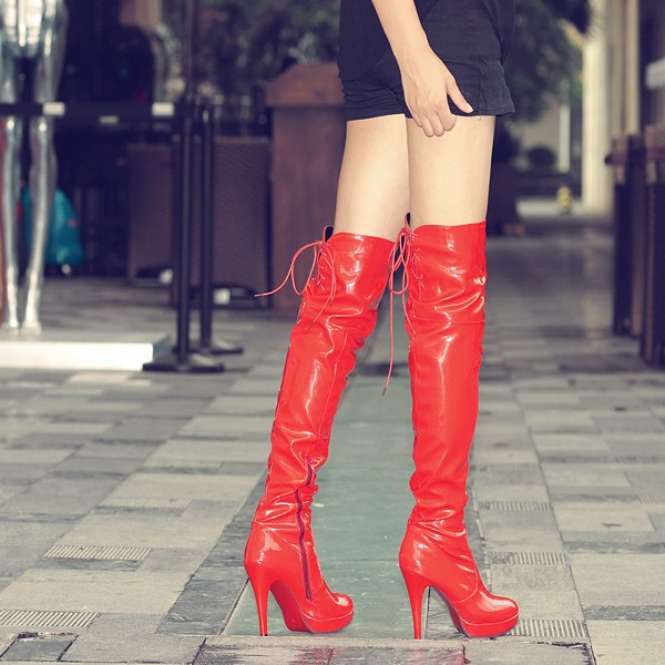 Women Winter Boots High Heels Patent Leather Boots Female Heel ...