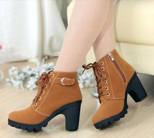 ស្បែកជើងកវែងនារី New Martin Boot Women Lace-up High Heel PZ949798