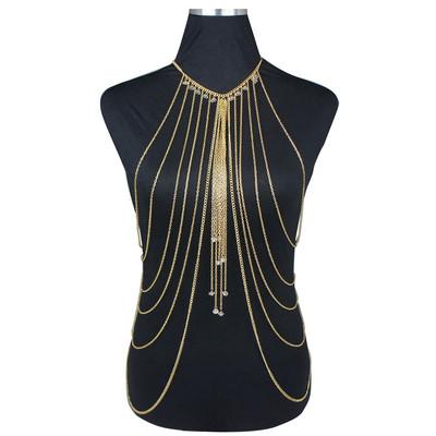 欧美夸张多层金色链条流苏水晶吊坠项链身体链 Body Chain BC045