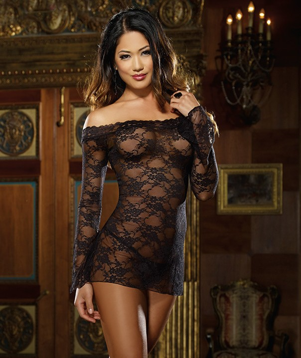 Foreign trade European and American spice underwear sexy full lace perspective sexy pajamas long sleeve tights direct sale d5102