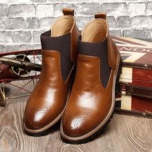 一件代发冬季高帮男鞋加绒大码马丁靴男靴工装短靴跨境男式皮靴46