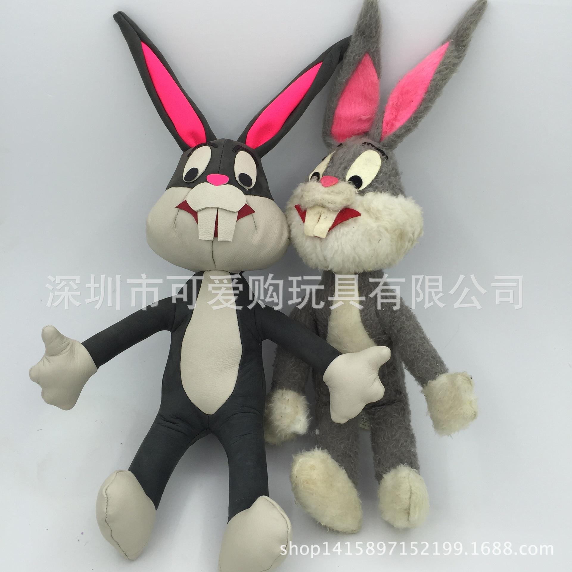 创意新款真皮兔毛玩具兔子 儿童动漫玩偶生肖兔子加LOGO厂家定制