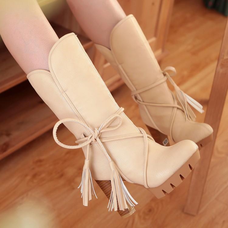 定制款冬季新款雪地靴中筒靴高跟防水台厚底毛毛棉女鞋大码女靴子