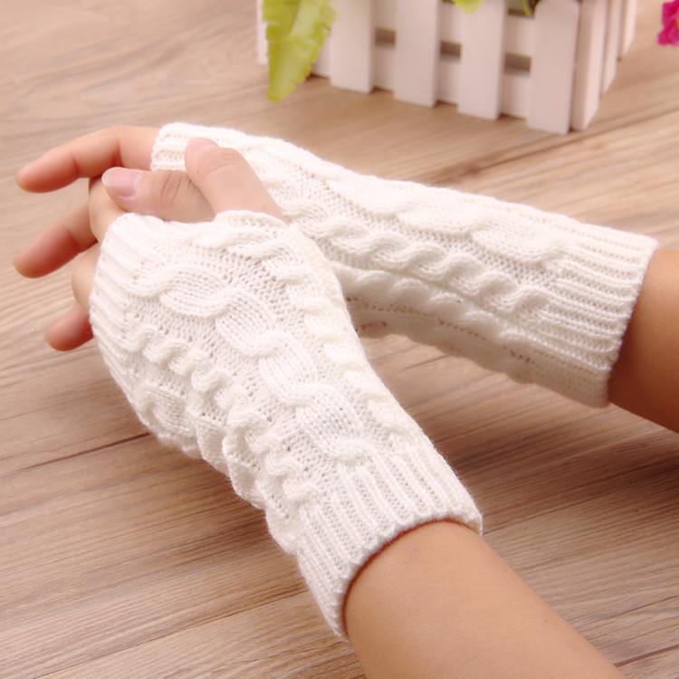 韩版冬季女毛线半指手套麻花针织保暖情侣骑行玩手机无指厂家批发