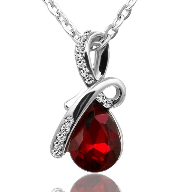 韩版新款水晶项链 短款天使之泪锁骨链 女生礼物优雅饰品免费代理