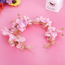 韩式新娘发饰发箍发带粉色头花结婚饰品花朵婚纱配饰 批发