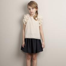 歐美童裝女童上衣娃娃衫淑女款中大童t恤短袖外貿出口原單童裝