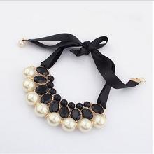 欧美经典秋冬流行珍珠项链 织带绸带珍珠合金纯手工项饰项链