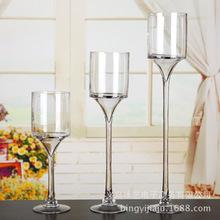 批发供应高脚杯直筒透明玻璃水培花瓶工艺品花插婚庆蜡烛杯