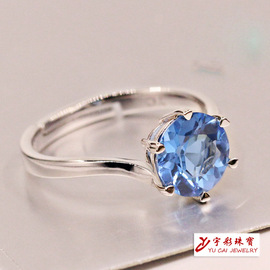 Jewelry Day Korea Amethyst Blue Crystal 925 Silver Ring Couples Men and Women Small Fresh Accessories Ring