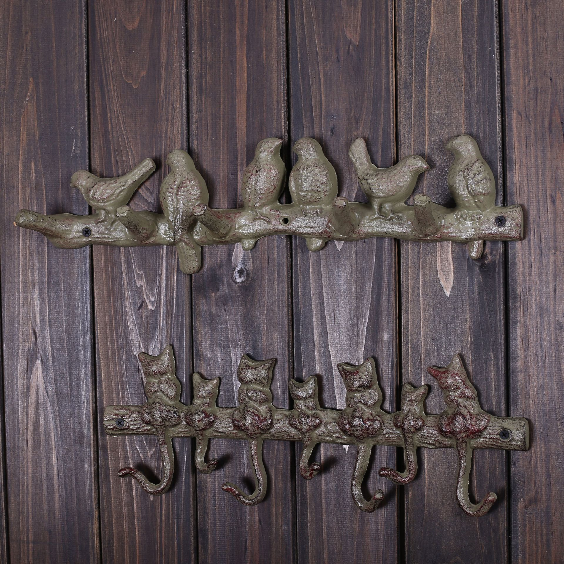Decorative Wall Hanging Coat Rack : Vintage owl owlet metal birds decorative wall hooks coat