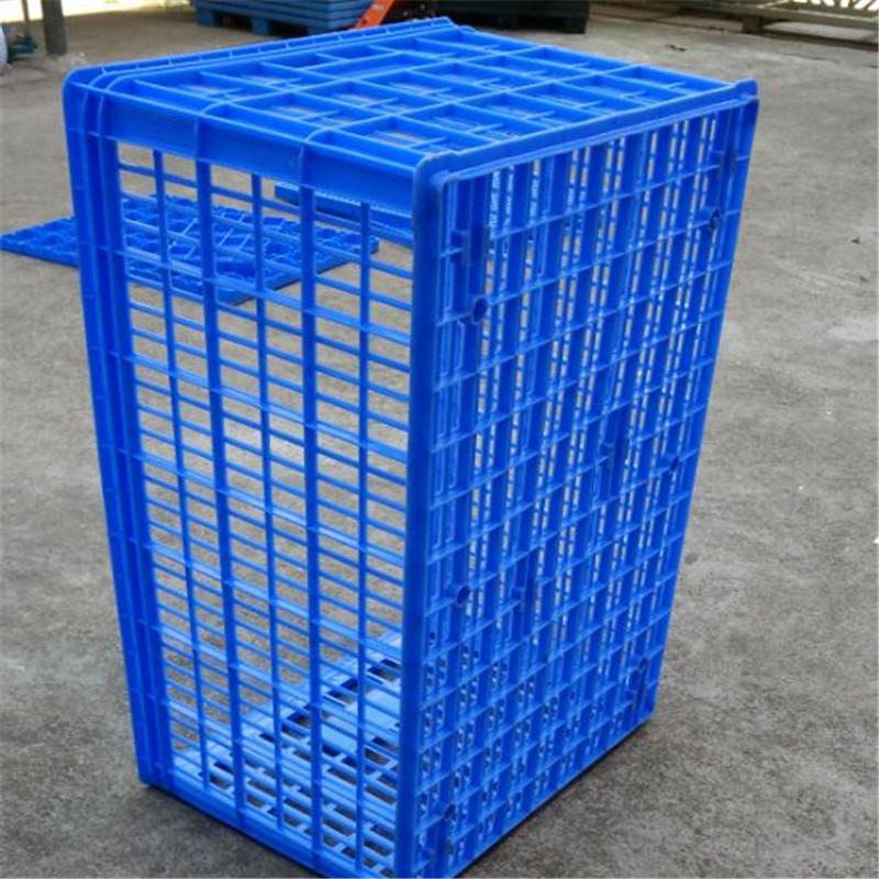 蓝色14号周转塑料箩折叠胶筐 高品质大号塑料周转箱快递派件筐
