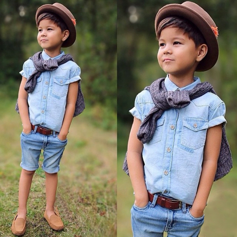 7b8b51818d5a 2pcs Kids Baby Boys Denim Suit Short Sleeve T-shirt+Shorts Summer ...