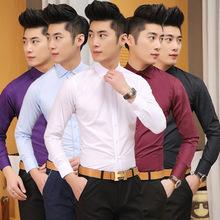 工厂批发 2015秋季新款男款休闲衬衣 韩版修身外贸男士长袖衬衫
