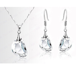 Meiyue Jewelry Year New Korean Version Popular Pea Crystal Princess Pure White Necklace and Earring Set