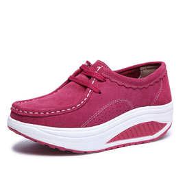2020春季新外贸真皮系带厚底舒适增高运动鞋休闲摇摇鞋女跨境鞋厂