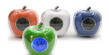 水晶闹钟苹果型语音报时钟水晶万年历时钟透明电子钟