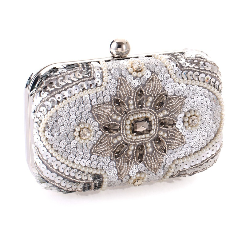 Popular casual women's hand-held evening bag high-end studded beaded embroidered bag NHYG176865