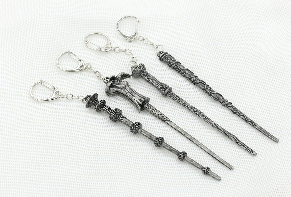 The new Harry Potter Harry Hermione Dumbledore alloy magic wand necklace key ring wholesale nihaojewelry NHDP229564