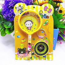 韓版文具批發 帶指南針放大鏡文具套裝 學生卡通指南針 低價熱賣