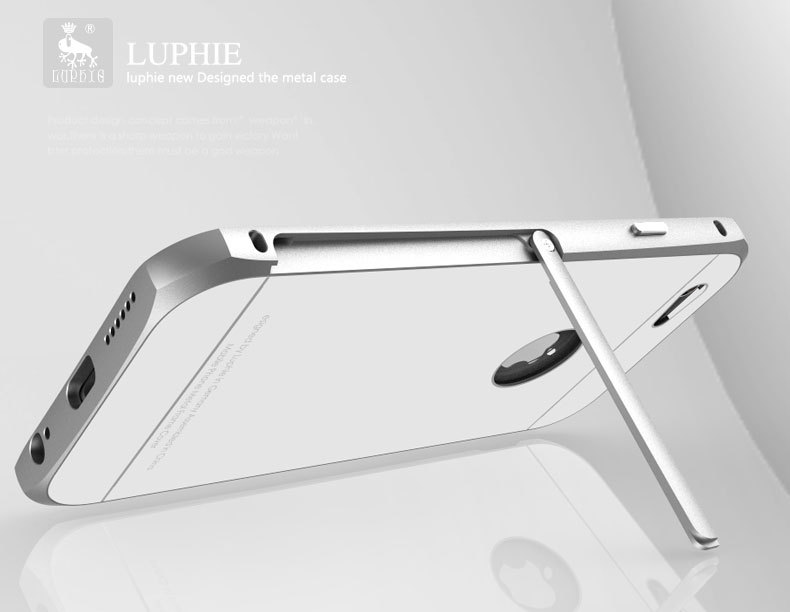 Luphie Aircraft Aluminum Metal Frame 9H Tempered Glass Back Cover Case with Kickstand for Apple iPhone 6S Plus