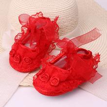 厂家直销淘宝一件代发鞋学步鞋棉鞋软底春秋防滑婴儿鞋蕾丝公主鞋