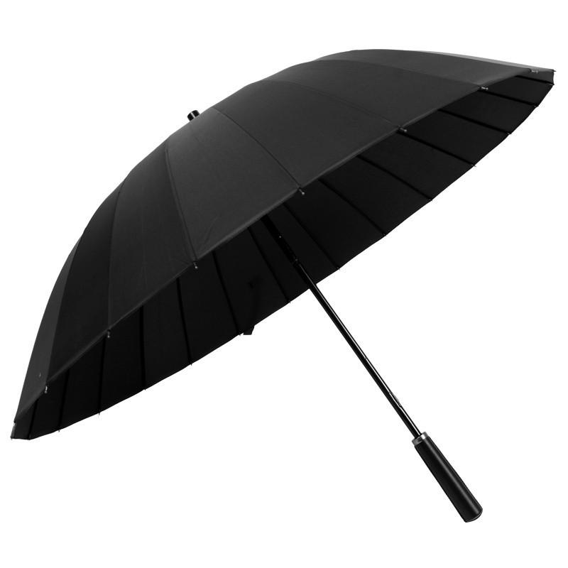 现货批发24骨素色雨伞超大防风双人伞创意晴雨伞直杆直柄伞定制