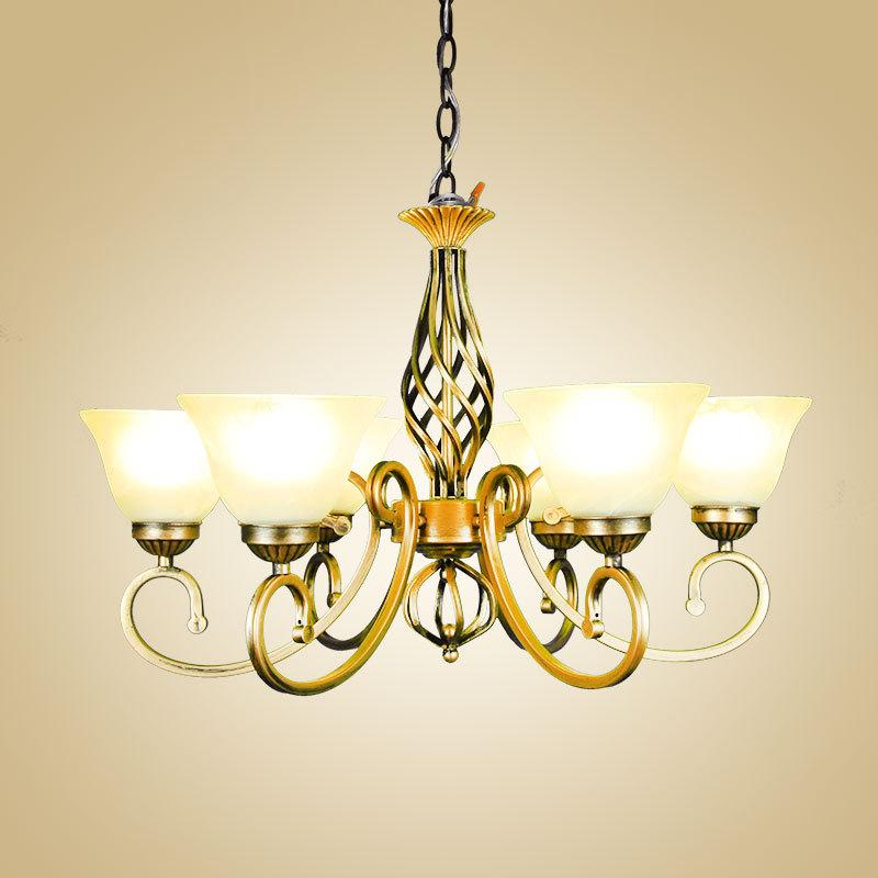 跨境货源厂家美欧式乡村简极欧式吊灯铁艺灯客厅灯卧室灯LED古铜