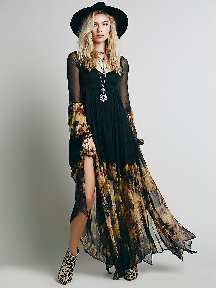 2019women S Folded Chiffon Dresses Large Flower Print Long Sleeve