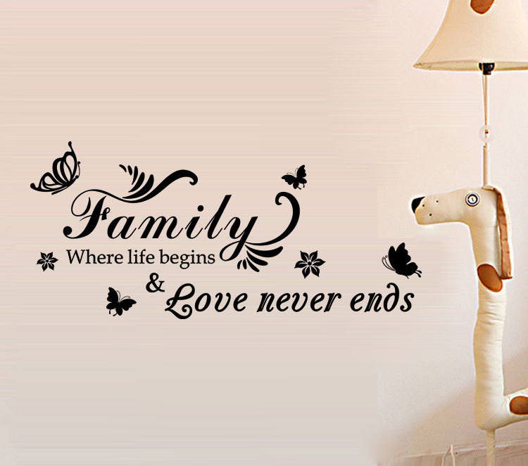 Love Never End Wallpaper : Family Where Life Begins Love Never End Removable Home Words Wall Sticker Decals eBay