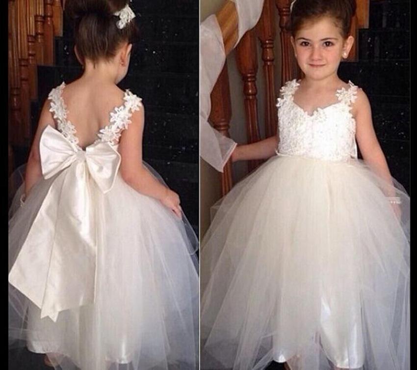 2019 White Spaghetti Straps Princess Flower Girl Dress For Weddings ... 0d80314e1da0