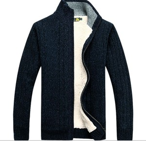 The supply of men's wear cardigan sweater coat plus velvet code men sweater wholesale thick winter clothes