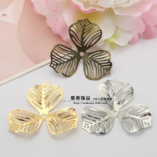 DIY Jewelry Accessories 48mm Clover Flower Receptacle Big Leaf Flower Gold/White K/Bronze
