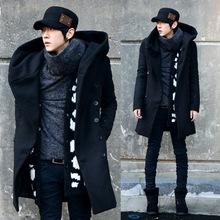 淘宝外贸款秋冬外套 男士韩版中长款大衣 男款修身加厚连帽风衣