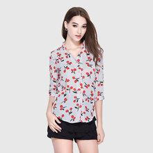 品牌新款雪纺衫女夏季专柜正品衬衣五分袖宽松上衣批发代理加盟