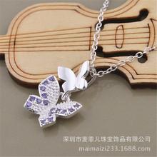 韩版韩国时尚项链批发电镀925纯银彩钻双蝴蝶吊?#25346;?#39280;项坠厂货