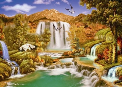 3d大型壁畫定制歐式油畫風景小屋電視客背景墻紙壁紙田園林間鄉野