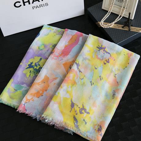 日係原單出口日本圍巾專櫃同步披肩暈染超美花朵彩色夢幻圍巾新款工廠,批發,進口,代購