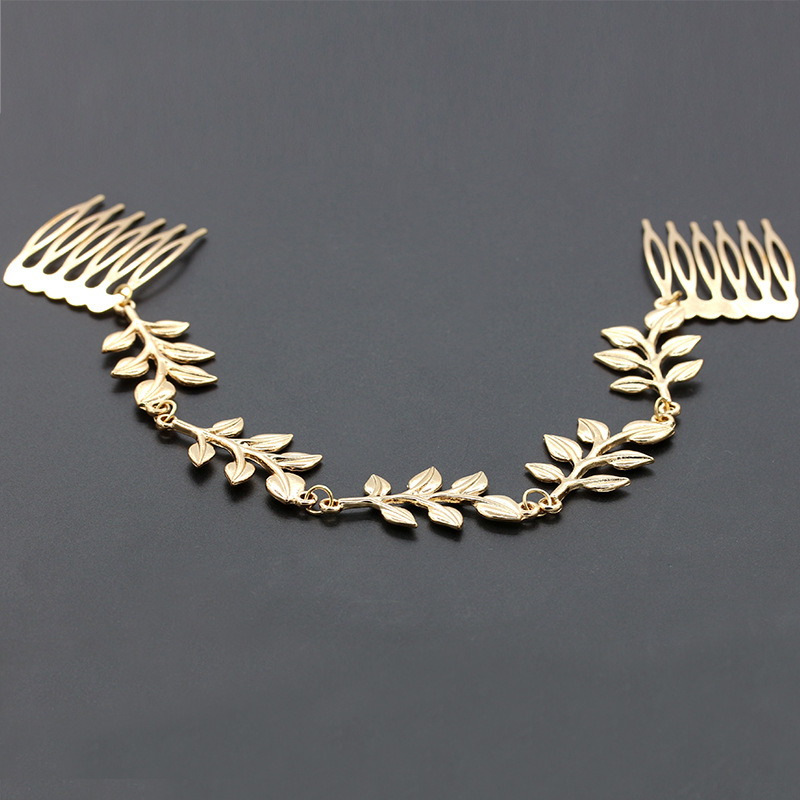 European and American metal chain wild leaves hair comb NHDP175040