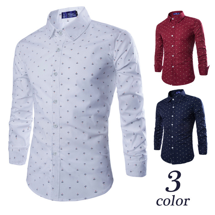 Foreign trade new men's long sleeve shirt men's boat anchor printing slim long sleeve shirt wholesale purchase